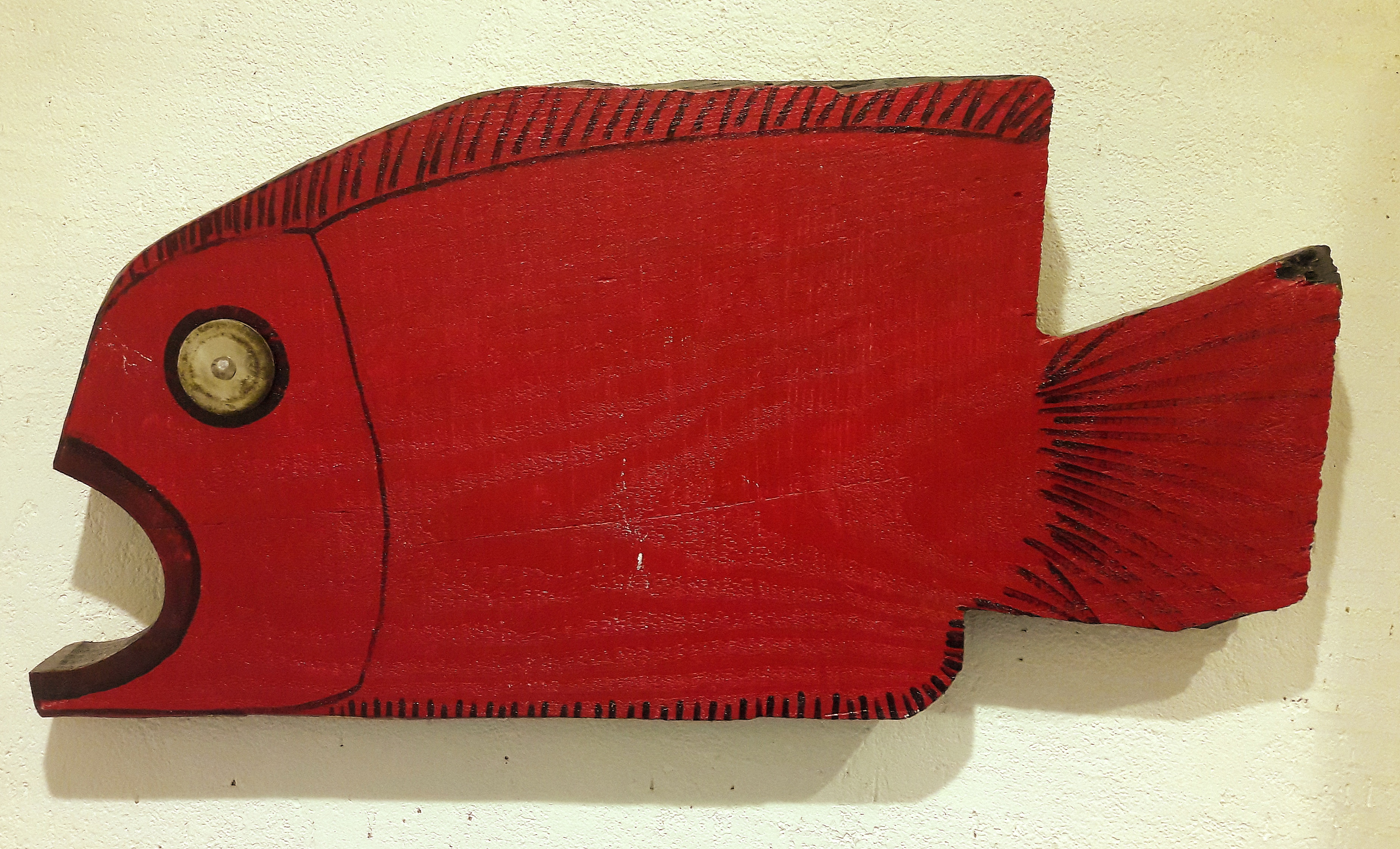 Czerwona ryba drewno Tomasz Motloch motlochartcom
