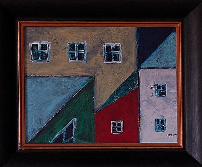 Pejzaz miejski z czerwonym domem akryl Tomasz Motloch motlochartcom